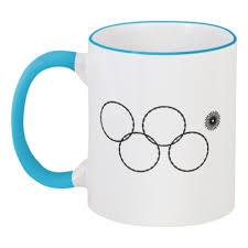 Кружка с цветной ручкой и ободком Олимпийские кольца в <b>Сочи</b> ...