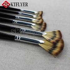 <b>6pcs Nylon</b> Hair <b>Fan</b>-<b>shaped</b> Paint Brushes Drawing Oil Painting Art ...