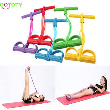 4-Tube <b>Fitness</b> Foot <b>Pedal</b> Pull Rope <b>Exercise Resistance Bands</b> Sit ...
