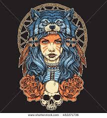 Native American <b>girl with Wolf headdress</b> full color   Wolf headdress ...