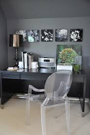 splashy lucite chairs convention indianapolis contemporary home office inspiration with black and white photography books charcoal clear acrylic chair dark black white home office inspiration