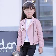 <b>Girls pu jacket rivet</b> zipper jacket Leather clothing girls 5-13 years ...