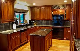 kitchen cabinets with granite countertops: cherry kitchen cabinets style and color selection rhubarb decor dark cherry coloured custom kitchen cabinets with granite countertop