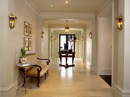 interior awesome hall way ideas with white paint scheme combined with wooden sofa and round coffee best hallway lighting