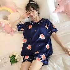 Women Sleep Wear 2020 <b>Summer Ice Silk</b> Loungewear Cute <b>Shorts</b> ...