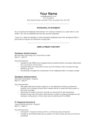 cover letter personal statement examples for resume personal cover letter personal statement resume personal example template for and employment history as database administrator or