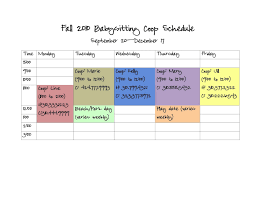 mommy lessons printables and tips for setting up a here is a sample co op calendar from our first year i have changed the s and phone numbers for anonymity