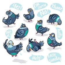 <b>Set</b> Of <b>Cartoon</b> Pigeons. Design For Stickers, Pins And <b>Patches</b> ...