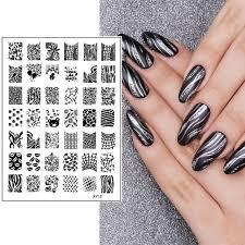 Online Shop <b>1 Pc New Nail</b> Art Stamping Stripe Grid Cobweb Lip ...