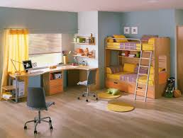 themed kids room designs cool yellow: coole sky blue and white themed kids bedroom design ideas with coner space brown wood bunk bed furniture on the wood floor that have yellow bedding