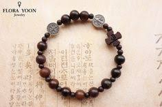 Wood Rosary Bracelet with <b>Antique Silver Saint Benedict</b> beads ...