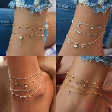 Summer Boho Butterfly Anklet For Women Gold Multilayer Crystal ...