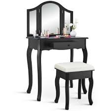 White Wood Bedroom <b>Vanity</b> Set Tri Folding Mirror <b>Makeup Table</b> ...