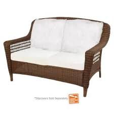 gallery popular patio love seat bay hampton bay spring haven brown all weather wicker patio loveseat with