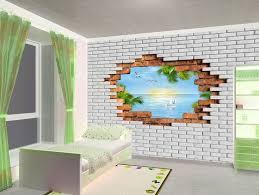 <b>Фотообои</b> 3д пролом в кирпичной стене - вид на море и солнце ...