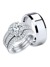 Couple Rings Womens Engagement Rings Set & <b>Men's Stainless</b> ...