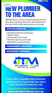 jtm plumbing and gas plumbers gas looklocalwa upload cv or brochure view my flyer or brochure