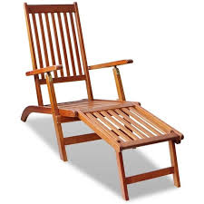 vidaXL Chaise de terrasse avec repose-pied Bois d'acacia solide ...