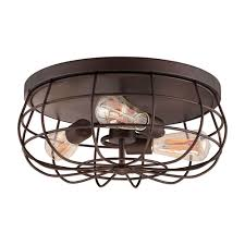 neo industrial rubbed bronze three light flush mount fixture ceiling lamp ceiling lighting fixtures