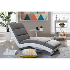 baxton studio percy modern and contemporary grey fabric and white faux leather upholstered chaise lounge buy chaise lounge leather