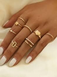 <b>8pcs Simple</b> Heart & <b>Star</b> Decor Ring Set | ROMWE
