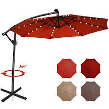 Costway 10 ft. <b>Aluminum</b> Offset Cantilever Solar Tilt Patio Umbrella ...