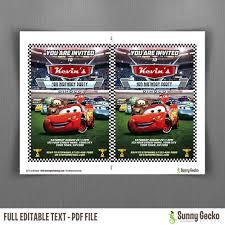 disney cars lightning mcqueen birthday invitation cars lightning mcqueen birthday invitation editable thank you card