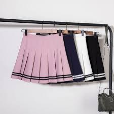 <b>High</b> Waist Striped Stitching Skirt Student <b>Elastic</b> Waist Pleated Skirt ...
