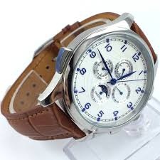 <b>44mm parnis white</b> dial blue marks Moon Phase brown leather ...