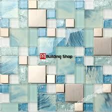 kitchen backsplash stainless steel tiles: blue glass mosaic kitchen wall tile ssmt stainless steel metal tile backsplash glass wall tiles free shipping mosaic tile
