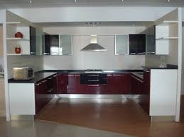 modular kitchen colors: charming modular kitchen design ideas with u shape kitchen and red white grey colors gloss kitchen