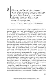 diversity initiative effectiveness what organizations can diversity initiative effectiveness what organizations can and cannot expect from diversity recruitment