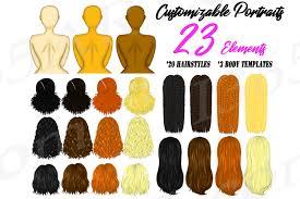 Custom Hairstyles Clipart <b>DIY Fashion</b> Character Builder