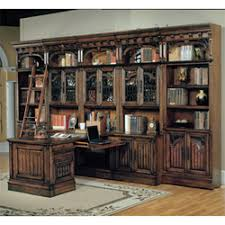 barcelona 10 piece peninsula office suite in antique vintage walnut parker house antique home office furniture
