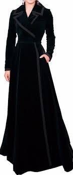 Long Black Velvet Wrap-Effect <b>Coat</b> | abaya in 2019 | Black velvet ...
