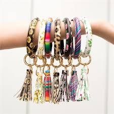 <b>New</b> Fashion Multicolor PU Leather O <b>Key Chain</b> Circle Tassel ...