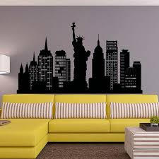 liberty bedroom wall mural: new york city skyline wall decal nyc silhouette new york wall decals statue of liberty office