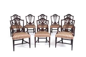 hepplewhite shield dining chairs set: set of eight english hepplewhite carved mahogany shield back dining chairs including two armchairs