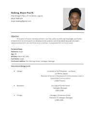 simple resume samples format of sample resume for freshers curriculum vitae format job sample