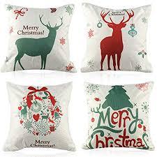 Coogam <b>4pcs Merry Christmas</b> Square Throw Pillow Covers 18x18 ...
