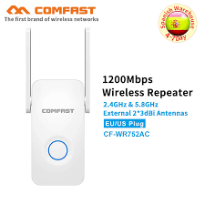 comfast 1200mbps wifi repeater dual band signal amplifier wireless router long range extender cf wr752ac v2