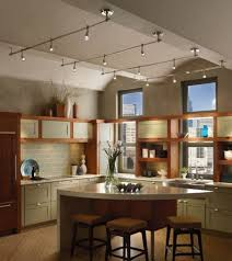 track kitchen lighting with spotlights over two toned kitchen cabinet and kitchen island with seating awesome pendant lighting sloped ceiling