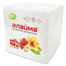 Купить <b>Салфетки</b> бумажные, 100 шт., 24х24 см, <b>ЛАЙМА</b>, белые ...