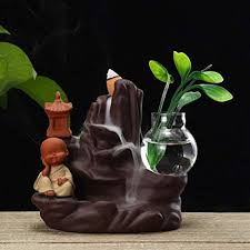 YURASIKU <b>Backflow</b> Incense Burner Holder <b>Ceramic Little</b> Monk ...
