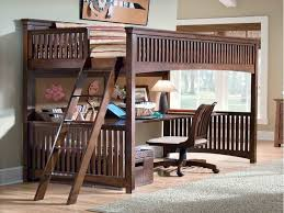 image of full size loft bed with desk underneath pattern bed with office underneath