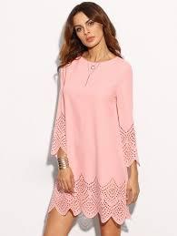 Pink <b>Hollow</b> Hem <b>Three Quarter Sleeve</b> Shift Dress | Moda in 2019 ...