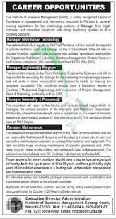 institute of business management iobm jobs 2014 for manager