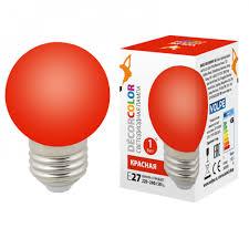 <b>Лампа</b> светодиодная <b>LED</b>-<b>G45</b>-<b>1W</b>/<b>RED</b>/<b>E27</b>/<b>FR/С</b> шар матовая ...