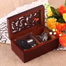 <b>Vintage Wooden Hollow</b> 18 Note Wind Up Musical Box Jewel Crafts ...
