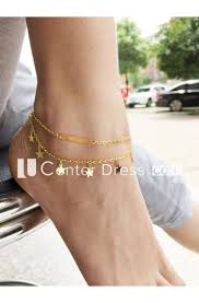 Simple And Exquisite Double <b>Metal</b> Tassel <b>Anklet Bracelet</b> ...